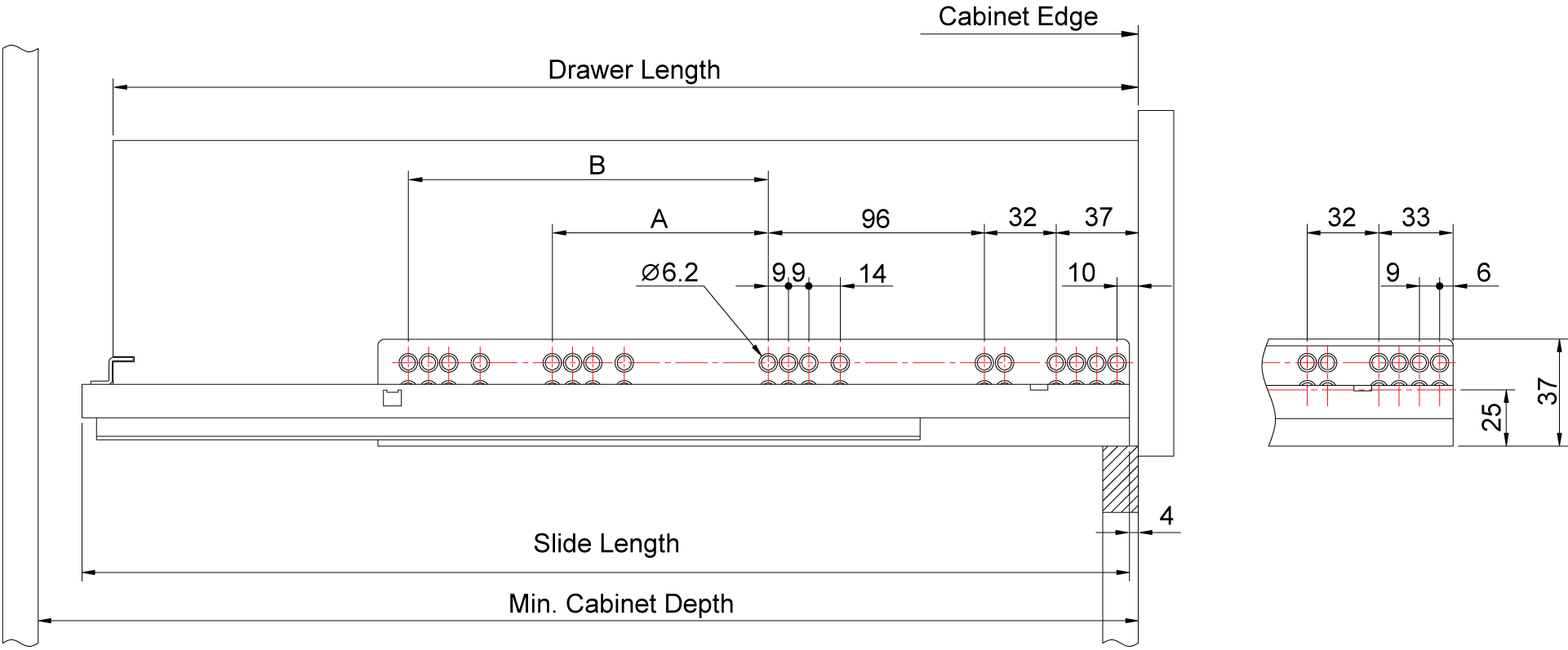 drawer throughout undermount soft design center measurements x slides close drawers